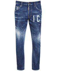 DSquared² Jeans Skater In Denim Stampa Icon 16cm - Blu