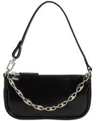 BY FAR Rachel Mini Patent Leather Shoulder Bag - Black