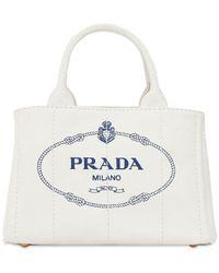Prada Tote Aus Canvas Mit Logodruck - Weiß