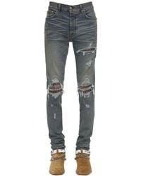 Amiri Jeans De Denim Con Estampado Leopardo 15Cm - Azul