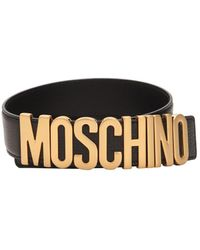 Moschino 3.5cm Gold Logo Leather Belt - Black
