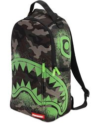 Sprayground Glow In The Camo Shark Backpack - Green