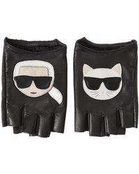 "Karl Lagerfeld Fingerlose Handschuhe Aus Leder ""k/ikonik"" - Schwarz"