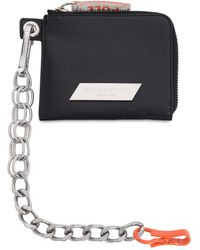 Heron Preston Leather Wallet W/ Detachable Chain - Schwarz