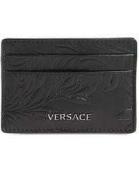 Versace Кожаная Кредитница С Логотипом - Черный