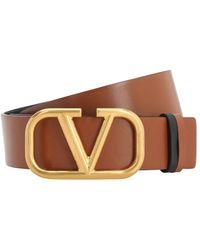 Valentino Cintura Reversibile In Pelle 40Mm - Marrone