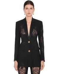Versace Crepe & Lace Blazer - Black