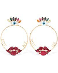 Anton Heunis Bite Me Crystal Hoops Earrings - Metallic
