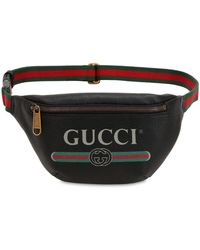 Gucci Small Print Leather Belt Bag - Black