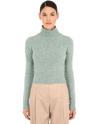 Victoria Beckham クロップドウールセーター - ブルー