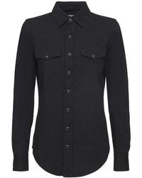 Saint Laurent Рубашка Из Хлопкового Денима - Черный
