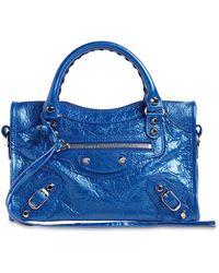 Balenciaga Mini City メタルレザー トップハンドルバッグ - ブルー