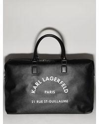 Karl Lagerfeld Weekender-tasche Aus Kunstleder Mit Logo - Schwarz