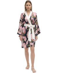 Olivia Von Halle Kimono In Seta Stampata - Rosa