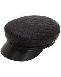 Borsalino Leather & Quilted Nylon Sailor Hat - Black