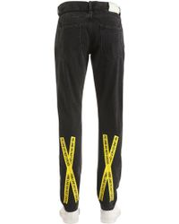 Off-White c/o Virgil Abloh - 17.5cm Slim Fire Line Tape Denim Jeans - Lyst