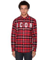 DSquared² Hemd Aus Baumwollmischung Mit Icon-druck - Rot