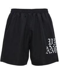 Palm Angels Hue Gothic Logo Print Tech Jersey Shorts - Black