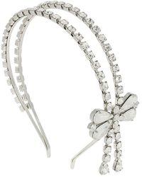 Alessandra Rich Crystal Headband W/ Bow - Metallic