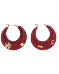 Marni Bold Resin Hoop Earrings W/ Crystals - Rot
