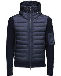 Moncler Куртка На Пуху Из Шерстяного Трикотажа - Синий