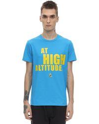 Moncler T-shirt Aus Baumwolljersey Mit Druck - Blau