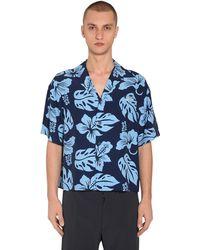 Prada Bowlinghemd Mit Druck - Blau