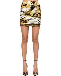 Versace Minirock Aus Stretch-jersey Mit Druck - Mehrfarbig