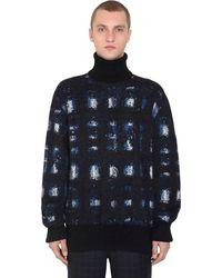 Alexander McQueen モヘア混 オーバーサイズジャカードセーター - ブルー