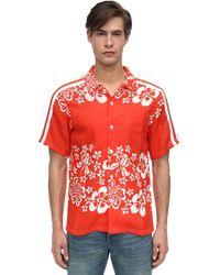 Just Don Chemise De Bowling Imprimé Hawaïen - Orange