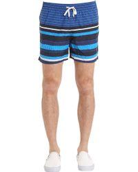 Danward - Stripe Printed Nylon Swim Shorts - Lyst