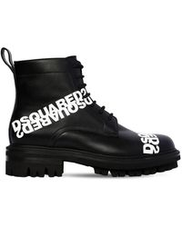 DSquared² 50mm Lace-up Leather Ankle Boots - Black