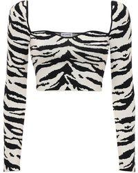 Self-Portrait Zebra Intarsia Knit Crop Top - Black