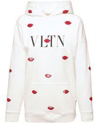 Valentino Свитшот Из Хлопкового Джерси С Принтом - Белый