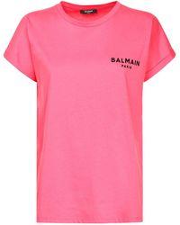 Balmain Футболка Из Органического Хлопка - Розовый