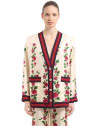 Gucci   Rose Printed Silk Twill Cardigan Jacket   Lyst
