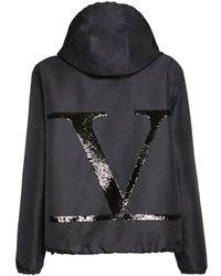 Valentino Куртка Из Нейлона С Логотипом - Черный