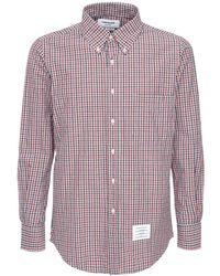 Thom Browne Рубашка Из Хлопка В Клетку - Красный