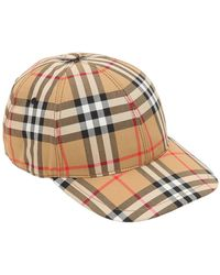 Burberry - Rainbow Vintage Check Baseball Cap In Beige And Multicolour Cotton - Lyst
