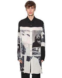 Yohji Yamamoto Langes Hemd Aus Mit Druck - Schwarz