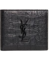 Saint Laurent Eastwest Embossed Leather Wallet - Black