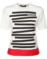 DSquared² T-shirt Aus Baumwolljersey Mit Logodruck - Weiß