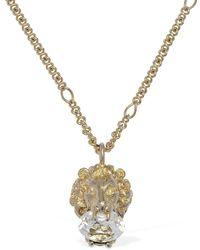 Gucci Lionhead Long Necklace W/ Crystal - Metallic