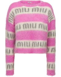 Miu Miu Strickpullover Aus Mohairmischung Mit Intarsien - Pink
