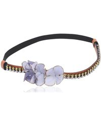 Marni Crystals & Flowers Headband - Blue