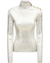 Balmain Pullover Aus Wollmischstrick - Mettallic