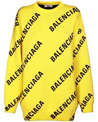 Balenciaga Трикотажный Свитер Из Хлопка - Желтый