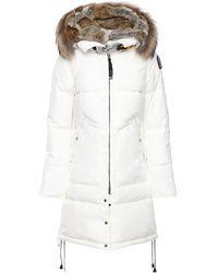 Parajumpers Long Bear Nylon Down Parka W/ Fur - White