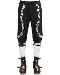 KTZ Baseball Seams Crop Cotton Jogging Trousers - Black