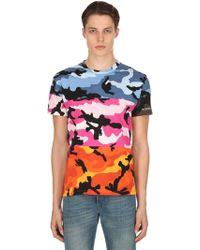 Valentino - Camou-shuffle Cotton Jersey T-shirt - Lyst